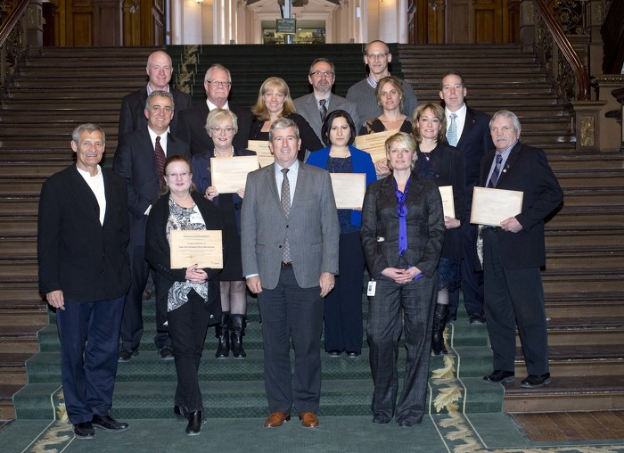 Recipients of 2013 The Minister's Award for Environmental Excellence. (See left for names.)