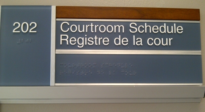 Braille is included on new signage at the Sarnia courthouse.