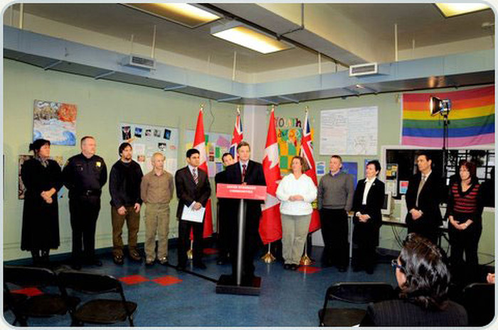 Attorney General Chris Bentley is joined by community partners as he announces a $70,000 Anti-Hate Crime Grant to Community Services Youth Services Bureau of Ottawa, February 7. The agency will use the money to lead a one-day forum bringing together youth, parents, youth justice workers, police services and justice system workers to increase vigilance against hate crimes and improve support for victims.