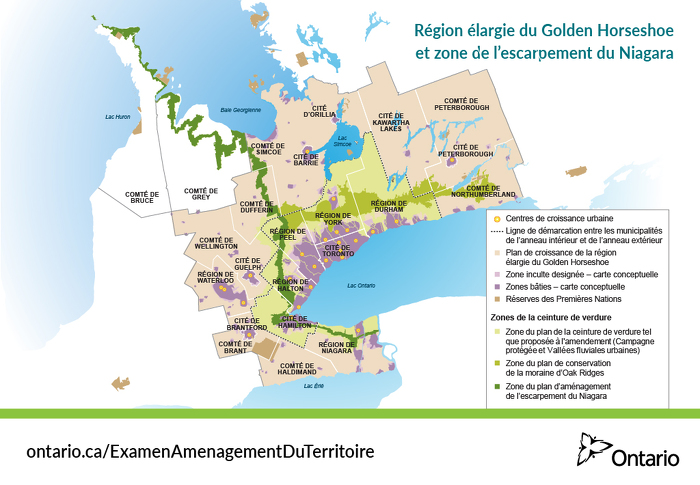 Région élargie du Golden Horseshoe et zone de l'escarpement du Niagara