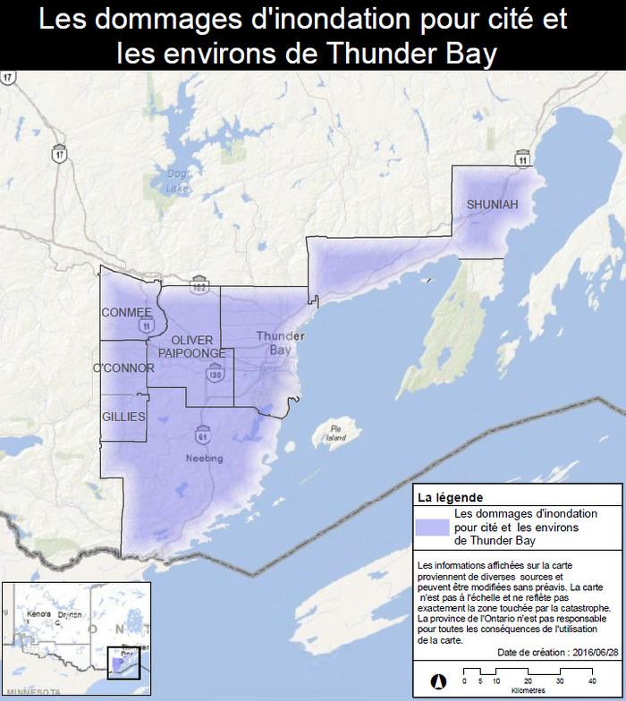 La province applique à Thunder Bay et aux environs le Programme d'aide aux sinistrés pour la reprise après une catastrophe