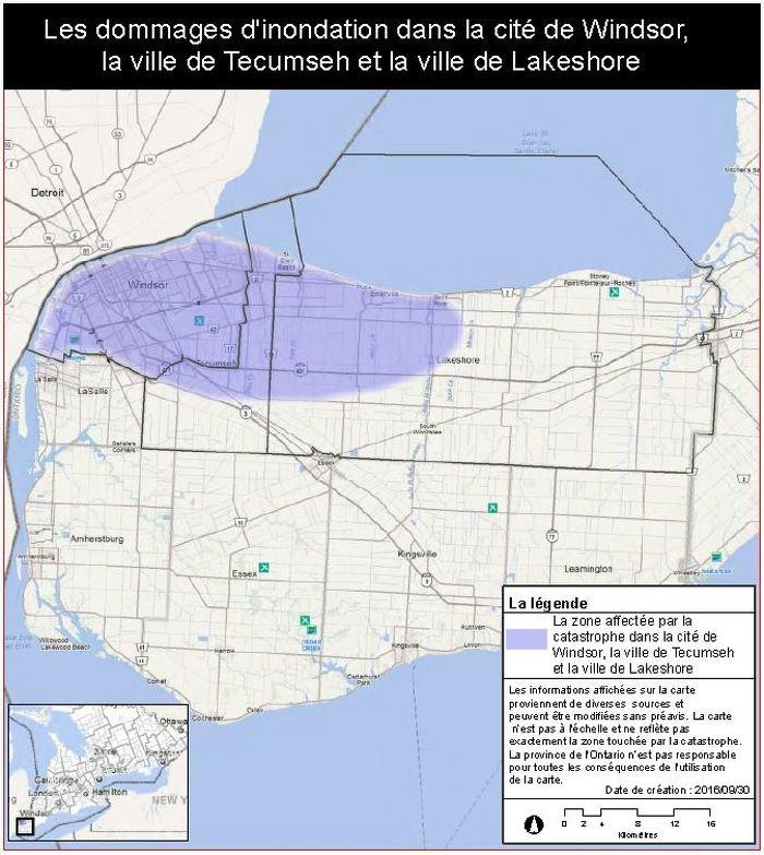 La province applique aux villes de Windsor et de Tecumseh le Programme d'aide aux sinistrés pour la reprise après une catastrophe