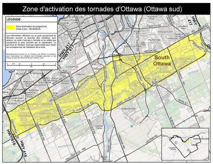 La province publie les cartes de la zone d'activation de l'aide aux sinistrés des tornades survenues à Ottawa