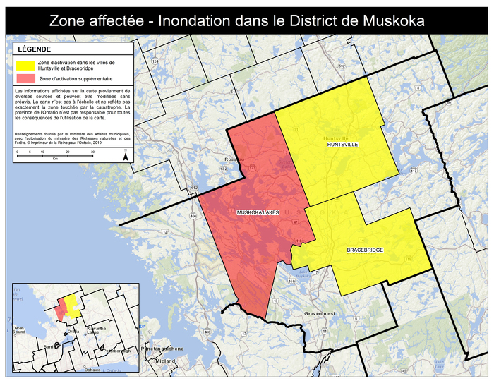 Mise à jour : L'Ontario étend la zone d'activation de l'Aide aux sinistrés pour la reprise après une catastrophe au canton de Muskoka Lakes