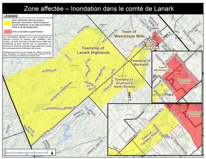 Mise à jour : La province élargit la zone d'activation de l'Aide aux sinistrés pour la reprise après une catastrophe dans le comté de Lanark