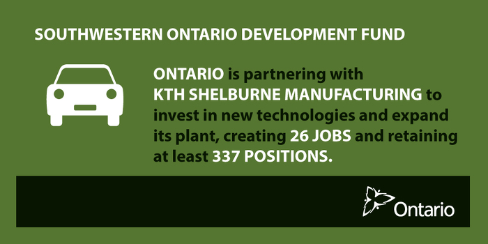 Ontario Partnering with KTH Shelburne to Help Create Jobs - Government of Ontario News