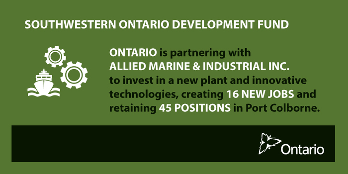 Ontario Investing in Advanced Manufacturing in Port Colborne