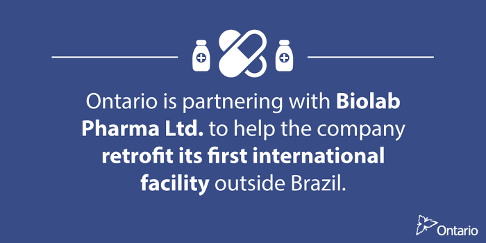 Ontario Partnering with Biolab Pharma to Create Life Sciences Jobs in Ontario