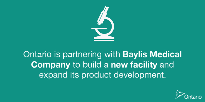 Ontario Partners with Baylis Medical to Support Over 570 Jobs in Mississauga