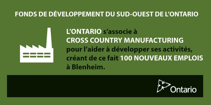 L'Ontario investit dans la fabrication de pointe à Blenheim