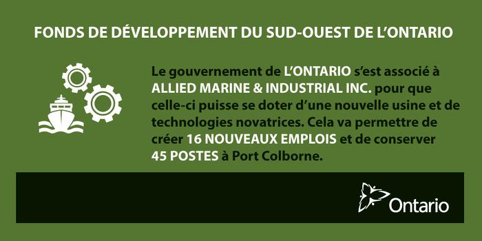 L'Ontario investit dans la fabrication de pointe, à Port Colborne