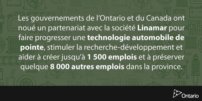 L'Ontario investit dans l'innovation au sein de l'industrie automobile