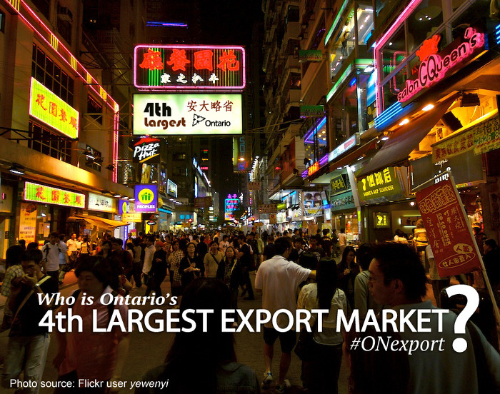 Who is Ontario's 4th largest export market?