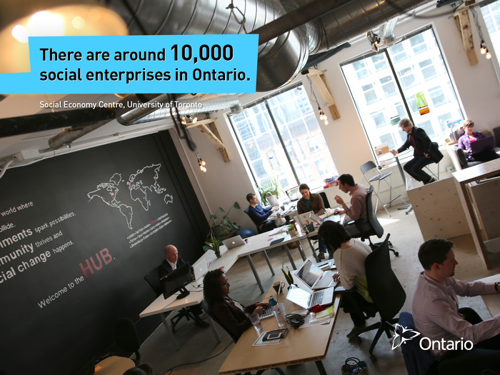 There are around 10,000 social enterprises in Ontario.