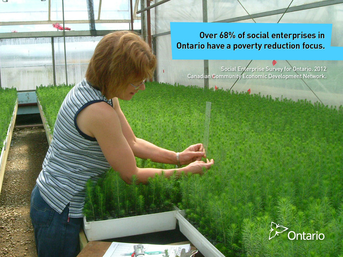 Over 68% of social enterprises in Ontario have a poverty reduction focus.