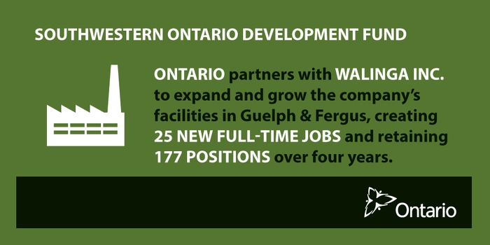 Province Partnering with Walinga Inc. to Create Jobs in Guelph and Fergus