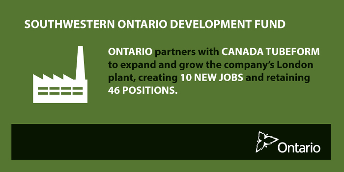 Province Partnering with Canada Tubeform to Expand and Create Jobs