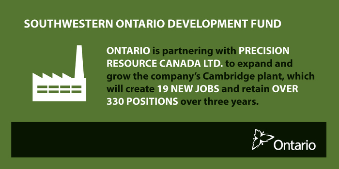 Province Partnering with Precision Resource Canada Ltd. to Expand and Create Jobs