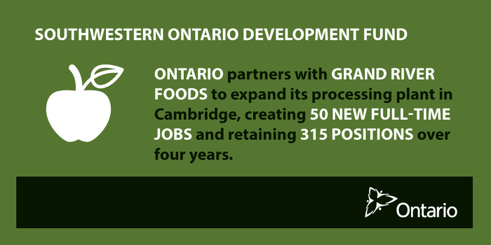Ontario Partnering with Grand River Foods to Create Jobs in Cambridge
