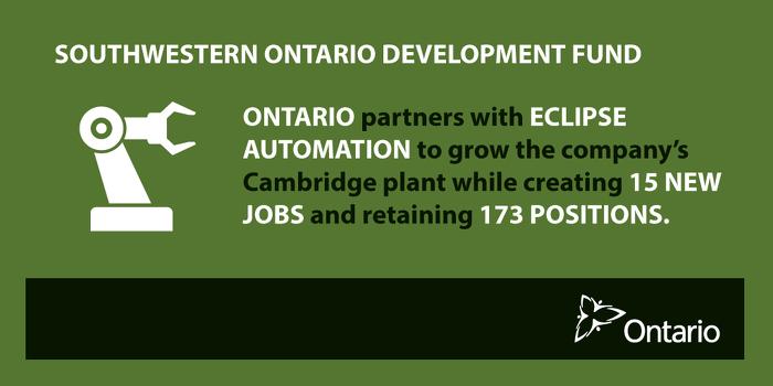 Ontario Helps Custom Equipment Maker Expand in Cambridge