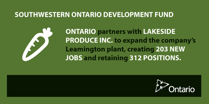 Ontario Partnering with Lakeside Produce to Create Jobs