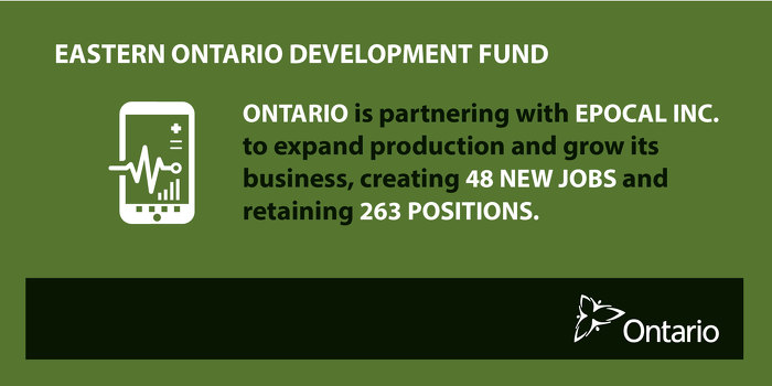 Ontario Partnering with Epocal Inc. to Create Jobs