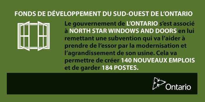 L'Ontario s'associe à North Star Windows and Doors, à St. Thomas