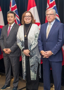 L to R - Han Dong, MPP Trinity-Spadina, Minister Tracy MacCharles and retired Justice John Douglas Cunningham