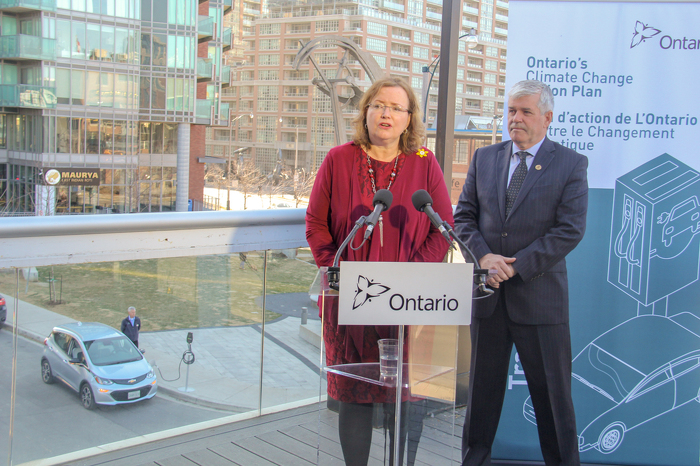Minister MacCharles and MPP Arthur Potts announcing new laws to facilitate the installation of electric vehicle charging systems in condominiums.