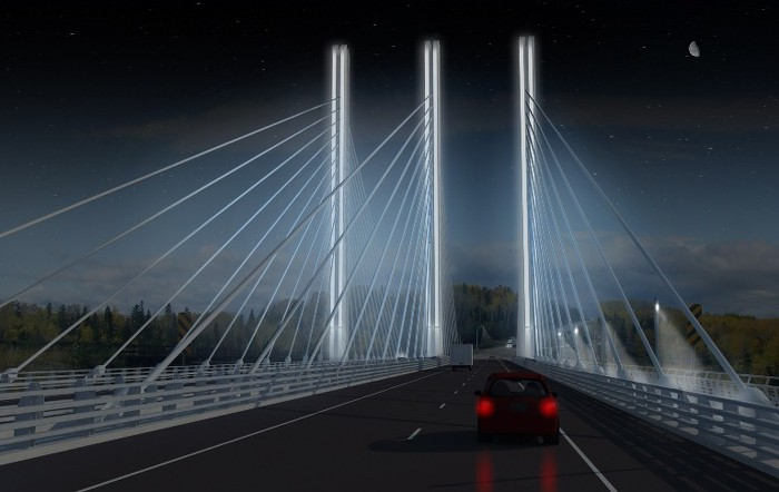 As shown here, the cables and towers will be illuminated by blue-tint accent lighting. The bridge will include a three-metre-wide shoulder to safely accommodate cyclists.  (McCormick Rankin)