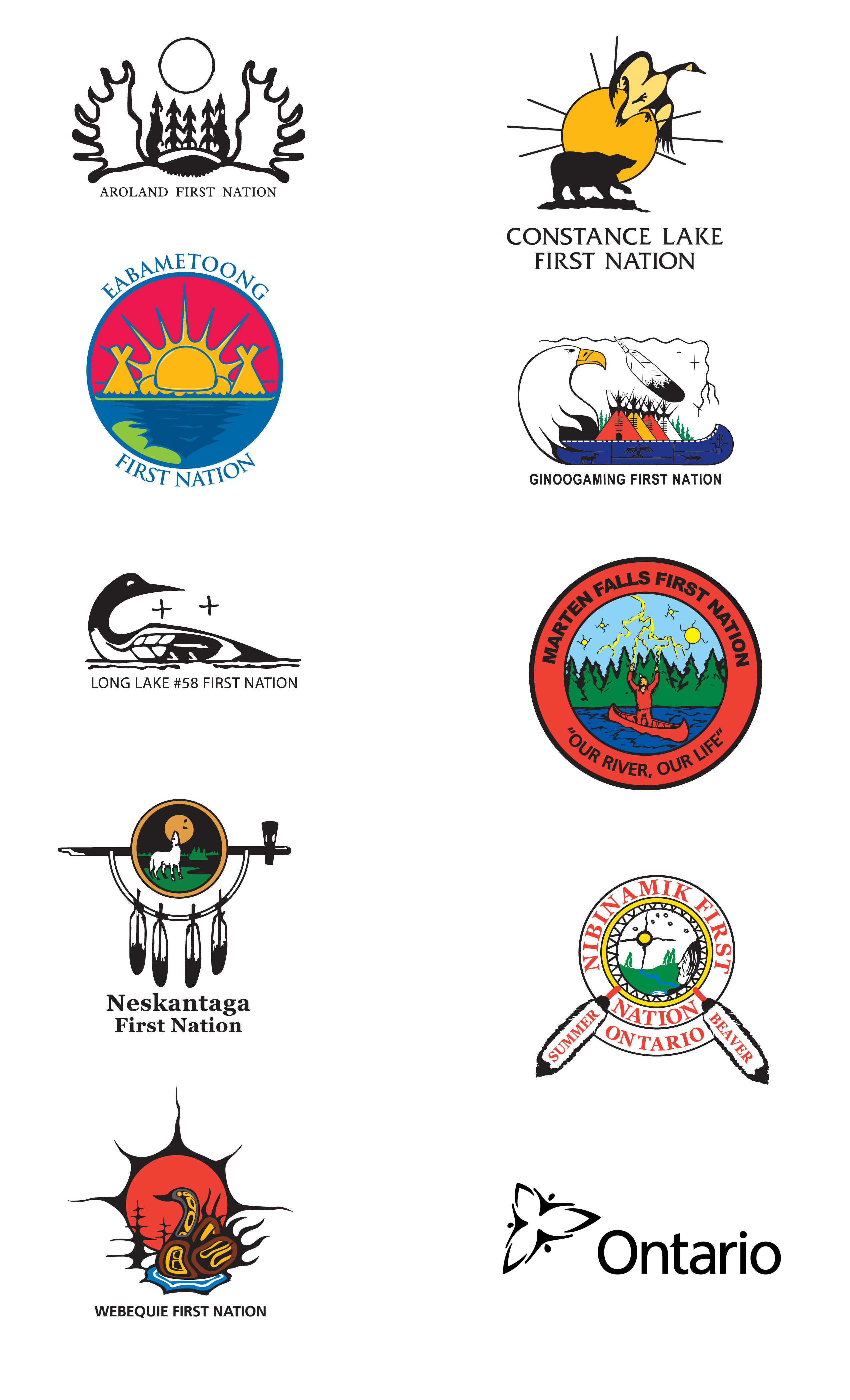 Logos for: Aroland First Nation, Constance Lake First Nation, Eabametoong First Nation, Ginoogaming First Nation, Long Lake #58 First Nation, Marten Falls First Nation, Neskantaga First Nation, Nibinamik First Nation, Webequie First Nation, Province of Ontario.
