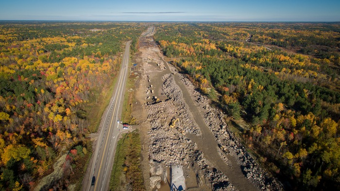 Highway 69 construction near the French River, and future Highway 607 interchange.