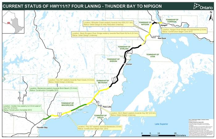 Carte de l'élargissement à quatre voies de Thunder Bay à Nipigon