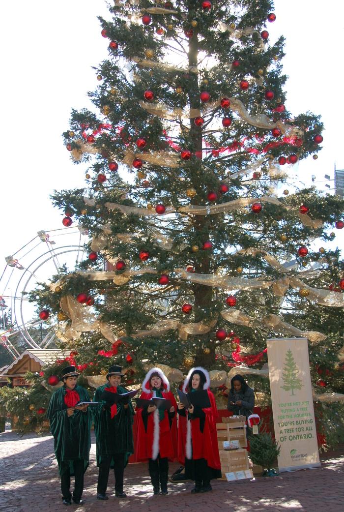 Singing carols at Lowe's Toronto Christmas Market
