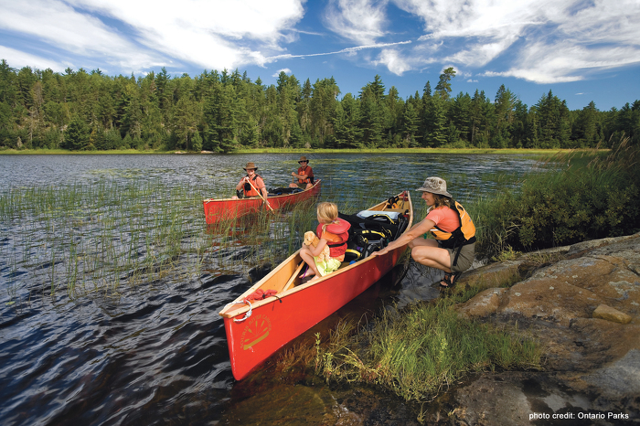 Canoeing is a great family activity at Quetico Provincial Park. Why not dip your paddle at this park or another provincial park to celebrate Canada's Parks Day.