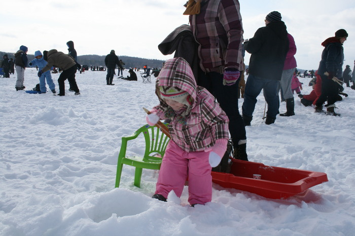Ice fishing is a great family activity.