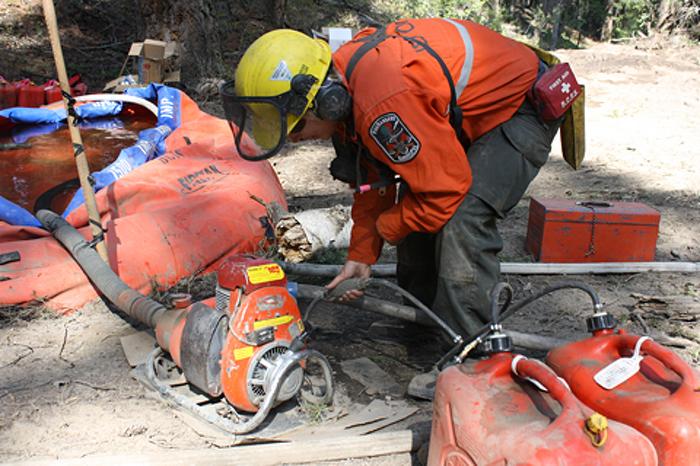 Preparing forest firefighting equipment