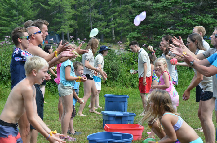 Playing with water balloons at Grundy Lake Provincial Park