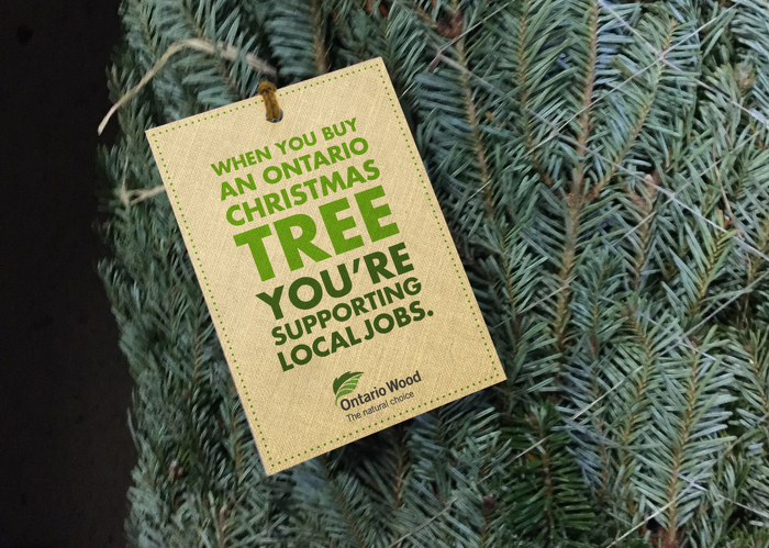 Ensure your Christmas tree is locally grown. Look for the Ontario Wood tag or ask the tree vendor where their trees were sourced.