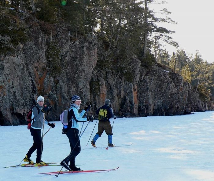Cross-country ski along the canoe routes at Quetico Provincial Park