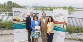 Conserving Wetlands to Help Fight Climate Change. (L-R) Brian Denney, Toronto Region Conservation Authority, Kathryn McGarry, Minister of Natural Resources and Forestry, Greg Weeks, Ducks Unlimited Canada, Lynette Mader, Ducks Unlimited Canada
