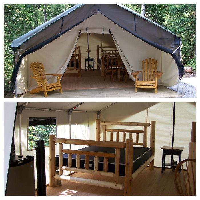 Tente de luxe au parc provincial Arrowhead.
