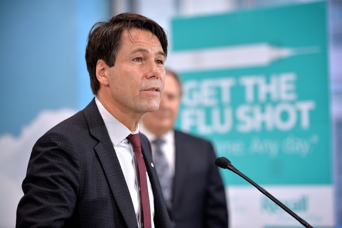 Minister Hoskins speaking at kick-off of province's annual flu immunization program