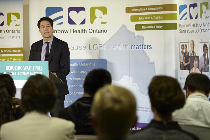 Minister Hoskins making an announcement on improving access for sex reassignment surgery.