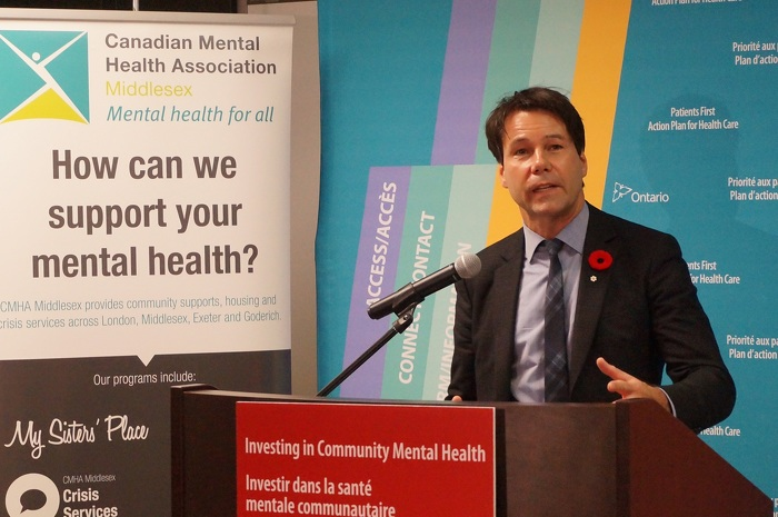 Minister Hoskins making an announcement about building a new mental health centre in London.
