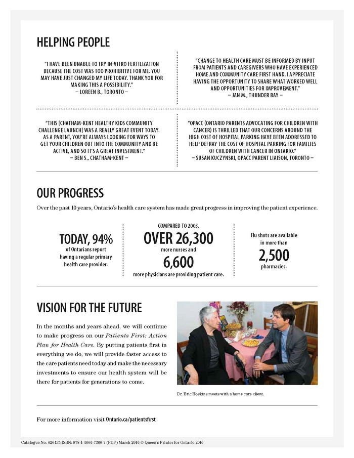 PAGE 4:  HELPING PEOPLE, OUR PROGRESS AND VISION FOR THE FUTURE