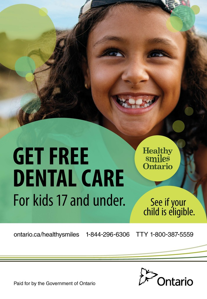 Get free dental care for kids 17 and under