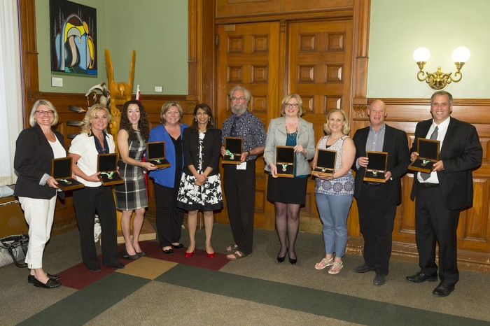 Associate Minister of Health and Long-Term Care with Heather Crowe Smoke-Free Ontario Award recipients.