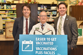 Minister Hoskins; Mr. James Snowdon, owner of Snowdon's Guardian Pharmacy; and Sean Simpson, Chair of the Board, Ontario Pharmacists Association at the event.