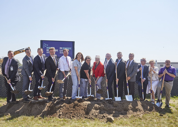 MPP Liz Sandals is joined by officials at a groundbreaking event for the new Groves Memorial Community Hospital.